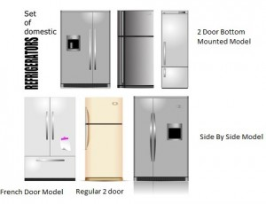Big set of Domestic refrigerators. Vector illustration